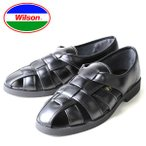 涼鞋 - メンズ カメサンダル ドライビングシューズ オフィスサンダル Wilson ウィルソン 3600 ブラック 通気性 クールビズ