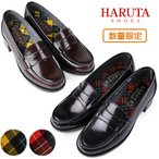 HARUTA ハルタ ローファー レディース タータンチェック 46039 通学 学生 靴 3E (22.5 25.5cm)