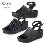SAYA サンダル サヤ ラボキゴシ 50166 厚底 ウエッジソール 本革 靴 ネックベルト セール