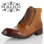 RAUDi ラウディ R-61204 BROWN メンズ 本革 カジュアル シューズ ダブルジップ ブーツ タンクソール セール