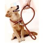 【PETLIFE ペットライフ】大型犬用 レザー首輪&リードセット 犬用引きひも 頑丈 お洒落 ライトブラウン「901-0028-03」
