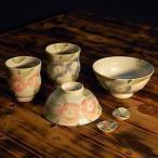 九谷焼 夫婦茶碗 湯のみ ペアセット 椿文(箸置付)