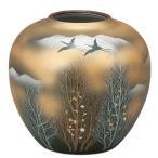 陶器 花瓶 九谷焼 金雲木立