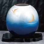ショッピング花瓶 陶器 花瓶 九谷焼 銀彩双鶴(花台付き)