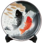 九谷焼 10号 飾皿 鯉の滝登り