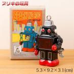 お腹がピカピカ!ハイテクブリキロボット ブラック Tin toy, Clockwork robot