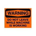 SECURITYステッカー MD019 警告 機械が動いている間は離れないで下さい