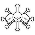 ONE PIECE(ワンピース)ステッカー/OPS-83 黒ひげ海賊旗/Sサイズ  (ワンピース公式グッズ)