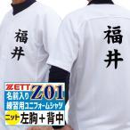ZETT ゼット 野球ユニフォーム 昇華プリント 名前入り練習用ユニフォームシャツ・フルオープンシャツ (ニット) Z01タイプ 左胸+背中 BU1181S-Z01