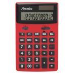 アスカ Asmix カラー電卓 12桁 レッド C1235R