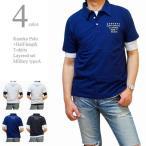 ポロシャツ メンズ 半袖 カノコポロ 5分袖Tシャツ レイヤード 2枚セット ミリタリーAタイプ フロッキープリント