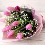 誕生日プレゼント ピンクチューリップの花束
