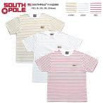 サウスポール SOUTH POLE Tシャツ 半袖 クルーネック ボーダー柄 胸ポケット 革パッチ 白