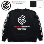 ロカウェア ROCAWEAR スウェット トレーナー 長袖 メンズ レディース 黒 白 大きいサイズ b系 かっこいい おしゃれ 裏起毛 袖プリント ロゴ ビッグシルエット