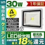 LED投光器 30W 300W相当 薄型 防水 LEDライト 集魚灯 作業灯 防犯 ワークライト 看板照明 昼光色/電球色/緑 - 4個セット