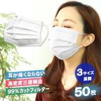 【週末限定価格】マスク 使い捨て 50枚 平ゴム 99%カットフィルター 耳が痛くならない 使い捨てマスク 大人用 送料無料 ゆうパケット