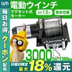 電動ウインチ 12v 電動ホイスト 1361kg / 3000LBS 電動 ウインチDC12V 電動 ホイスト
