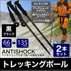 ショッピング登山 トレッキングポール 登山 2本セット I型 ステッキ ストック 超軽量アルミ製 登山用杖 黒