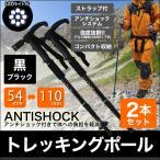 ショッピング登山 トレッキングポール 登山 2本セット T型 LEDライト搭載 ステッキ ストック 登山用杖 黒/ブラック
