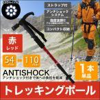 ショッピング登山 トレッキングポール 1本 T型 LEDライト搭載 ステッキ ストック 登山用杖 赤