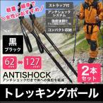 ショッピング登山 トレッキングポール 2本セット I型 女性用 ステッキ ストック 登山用杖 黒/ブラック 予約販売7月下旬入荷予定