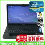 SONY VAIO VPCEB1AFJ  中古ノートパソコン Win7 Home 64bit [corei5 430M 2.27G メモリ4G HDD320GB マルチ 無線 カメラ テンキー  15.6型 A4 ] (Black):ランクB