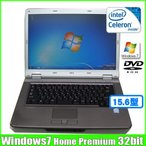NEC VersaPro VY20M/E-5 [celeron 550  (2.0Ghz)hz/2G/80GB/DVD-ROM15.6型ワイド/Windows7 Home  無線] :美品 中古 ノートパソコン Office