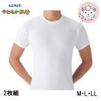 半袖丸首シャツ 2枚組 グンゼ GUNZE メンズ やわらか肌着 半袖 クルーネック インナーシャツ M L LL