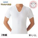 半袖U首シャツ 2枚組 グンゼ GUNZE メンズ やわらか肌着 半袖 Uネック インナーシャツ M L LL