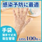 ビニール手袋 使い捨て 100枚セット 衛生的 感染防止 防水防油 ウィルス予防 ポリエチレン手袋 左右兼用 エンボス加工 極薄手 丈夫 透明 食品加工