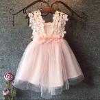 送料無料 フラワー チュールワンピース ベビードレス ピンク 女の子 子供服 ベビー服