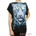 レディース Tシャツ 半袖 カウルネック キラキラ装飾 タイガープリント VirginOnly S.M.L ブラック LAインポート FROM USA