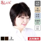 ショッピングウィッグ 人毛 ミックス 総手植え 医療用 ウィッグ ショート 私元気 HH3001-N2
