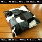 ハラコクッションカバー レザー ハラコ メタリックブラック ミッドセンチュリー系インテリア WILD HEARTS Leather&Silver (ID coc03b20)