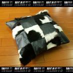 ハラコクッションカバー レザー ハラコ メタリックブラック ミッドセンチュリー系インテリア WILD HEARTS Leather&Silver (ID coc04b20 )