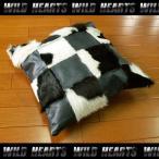ハラコクッションカバー レザー ハラコ メタリックブラック ミッドセンチュリー系インテリア WILD HEARTS Leather&Silver (ID coc06b20)