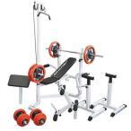 マルチセーフティージムセット 赤ラバー100kg / 筋トレ トレーニング器具 ダンベル バーベル ベンチプレス ホームジム