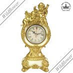 ロココ調 ロイヤルアーデン フレンチエンジェルシリーズ ホワイト/ゴールド 置時計/薔薇雑貨 天使 雑貨,かわいい雑貨のワイルドフラワー