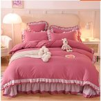 韓国風 布団カバーセット 無地 シンプル 可愛い 夏用 掛け布団カバー ベッドカバー 寝具セット シルク風 洗える フラットシーツ シーツカバー ボックスシーツ
