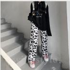 ワイドパンツ韓国オルチャンストリートダンス衣装ダルメシアン柄原宿系HIPHOPホルスタインアニマルボトムス牛柄ヒョウ柄