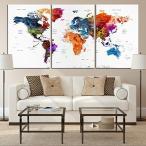Yahoo!Willingnessヤフー店ウォールアート Mixcolor 世界地図プッシュピン 旅行地図 キャンバスプリント - ホーム&リビングデコレーション(24x36インチ x3パネル) [正規品直輸入]