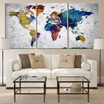 Yahoo!Willingnessヤフー店ウォールアート Rainbow Colorful 世界地図プッシュピン 旅行地図 キャンバスプリント - ホーム&リビングデコレーション(24x36インチ x3パネル) [正規品直輸入]