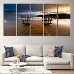 ウォールアート Sunset and Wooden Pier、Sea Seascape Large Canvas Print (10x24インチ x5パネル) [正規品直輸入]