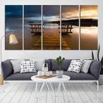 ウォールアート Sunset and Wooden Pier、Sea Seascape Large Canvas Print (12x32インチ x5パネル) [正規品直輸入]