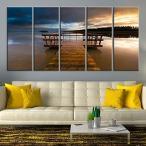 ウォールアート Sunset and Wooden Pier、Sea Seascape Large Canvas Print (16x40インチ x5パネル) [正規品直輸入]
