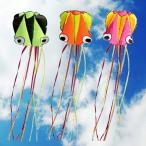 タコの凧 カイト 凧揚げ 全長4m カラフル 軽量 凧糸とハンドル付き 3個セット 子ども 大 人 外遊び 玩具