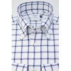 ショッピング細身 (ウィンザーノットアルバートアベニュー)WindsorknotAlbertAvenueウィンドウペンチェックのボタンダウン ネイビー系 日本製 綿100% (細身) 長袖 ドレスシャツ