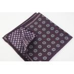 ショッピングギンガムチェック (フェアファクス) FAIRFAX リバーシブルのポケットチーフ パープル系 小紋&ギンガムチェックプリント シルク100% イタリア製