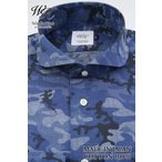 ショッピングダンガリー (ウィンザーノット アルバートアベニュー) Windsorknot Albert Avenue ハーフムーン・ラウンドカラー シャツ 日本製 綿100% ブルーのダンガリー調迷彩プリント