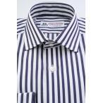 (フェアファクス) FAIRFAX イングリッシュスプレッドカラー ドレスシャツ 白地にネイビー ロンスト 綿100% (細身)